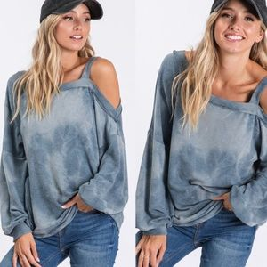 RUTH Tie Dye Cold Shoulder Top - blue